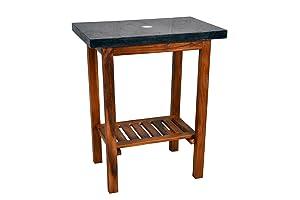 DIVERO Waschtisch Teak Holz mit Natursteinplatte aus schwarzem Marmor Badmöbel   Kundenbewertungen