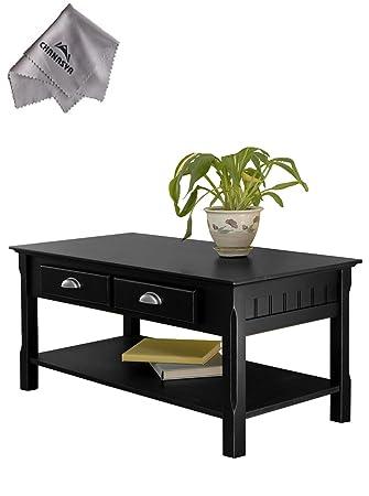Timer Coffee Table, drawers and shelfWith Chanasya Polish Cloth