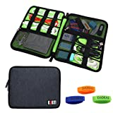 BUBM Universal Electronics Accessories Organizer, Travel Gear Carry Bag for Cables, USB Hard Drive, Plug, External Flash Drive and More, Lightweight and Compact (Large-Black)