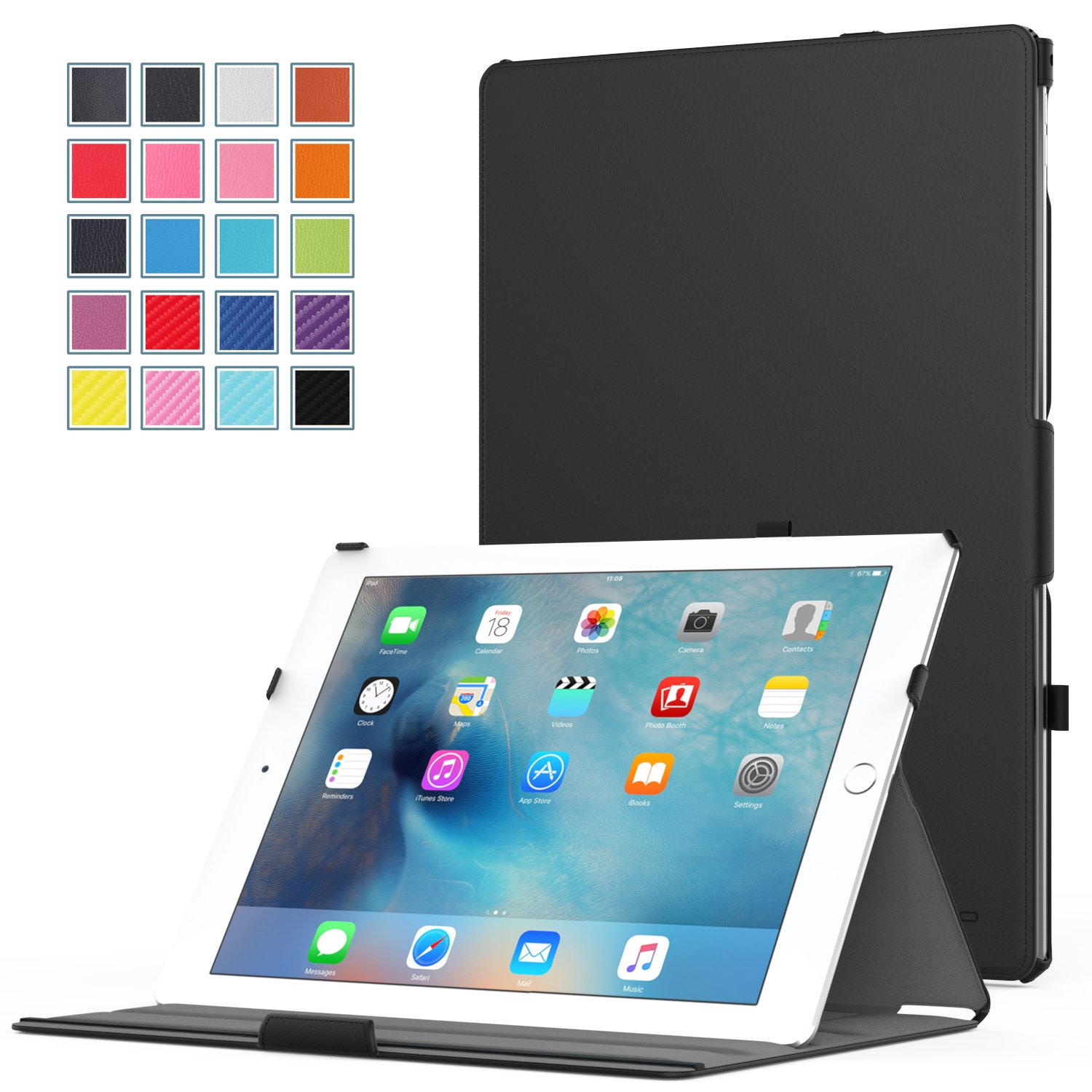 iPad Pro Case - MoKo Slim-Fit Multi-angle Folio Cover Case for Apple iPad Pro 12.9 Inch iOS 9 2015 Release Tablet, BLACK