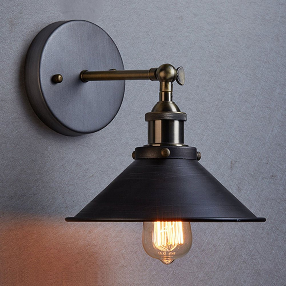 Sanyi Vintage Wall Light Fixture Industrial Edison Simplicity 1 Light Wall Mount Light Aged Steel Finished Wall Sconces 1