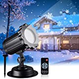 Snowfall LED Light Projector, Christmas Rotating Snowflake Projector Lamp with Remote Control, IP65 Waterproof White Snow for Decoration Lighting on Halloween Holiday Birthday Wedding Party (Color: Black)