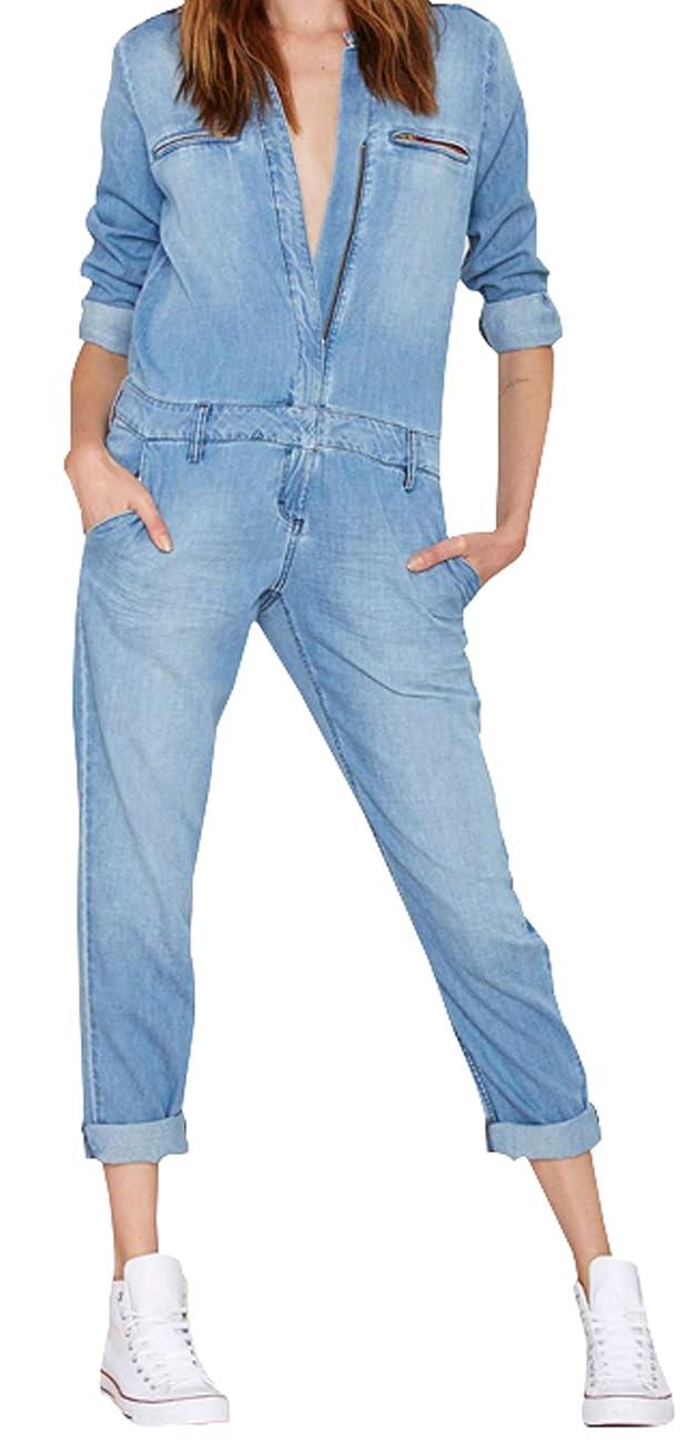 Darceil Women's Vintage Blue Long Sleeve Long Pants Denim Jumpsuit Overalls 0