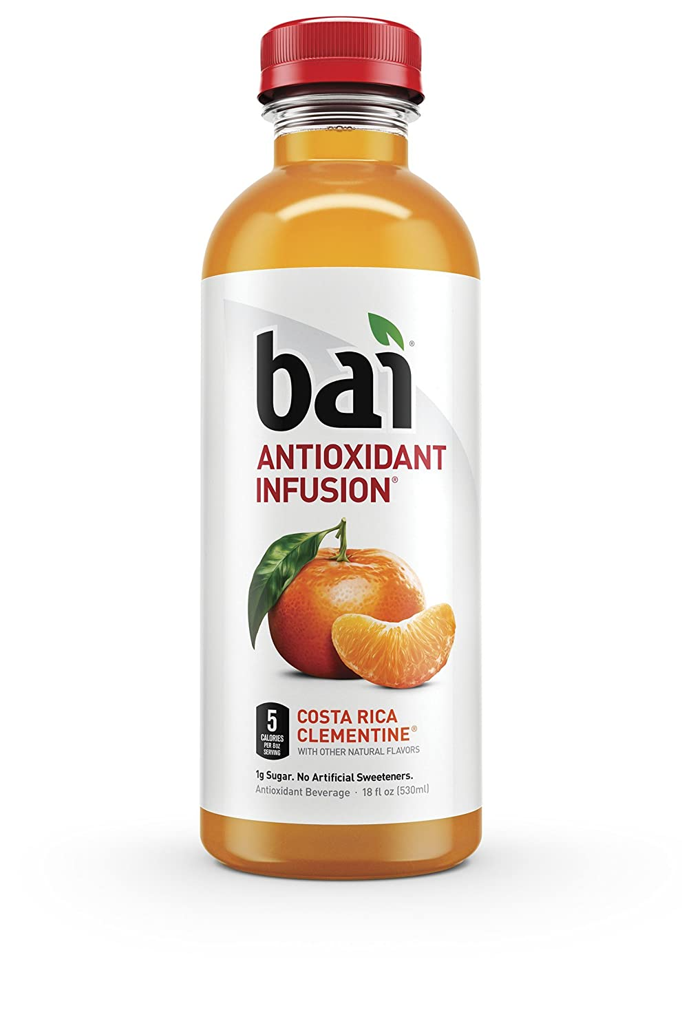 """""""Bai5, 5 calorie Costa Rica Clementine, 100% Natural, Antioxidant Infused Beverage, 18 Fl Oz Bottles (Pack of 12)"""""""