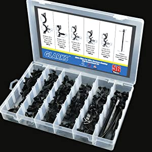 Glarks 56-Pieces Auto Clips Car Wire Harness Routing Clip Assortment Kit for Honda GM Mazda 6 Size from 3//8 to 3//4 Loom Clips