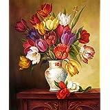 "eGoodn Diamond Painting Art Kit DIY Cross Stitch by Number Kit DIY Arts Craft Wall Decor, Full Drill 17.3"" by 21.3"", Tulip Flower Vase, No Frame (Color: Tulip Flower Vase)"
