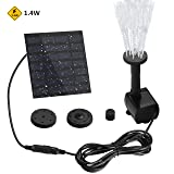 Yantop Outdoor Solar Powered Bird Bath Fountain Pump with 1.4W Power Panel Kit and Water Pump, Water Fountains, Watering Submersible Pump with 4 Spray Nuzzles, for Pond, Garden Decoration (8.7ft Cord)