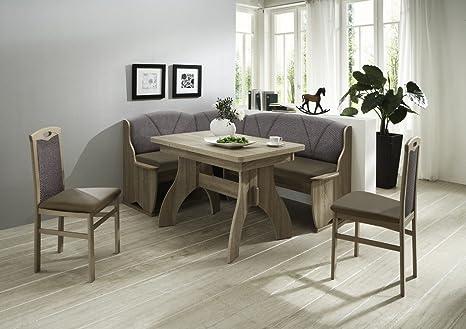Dreams4Home Eckbankgruppe 'Mori' Essgruppe 172 x 132 x 89 cm Tisch 2 Stuhle modern Sonoma Eiche Sitz Kunstleder braun Eckbank Kuchentisch 4-teilig Landhaus Kuche