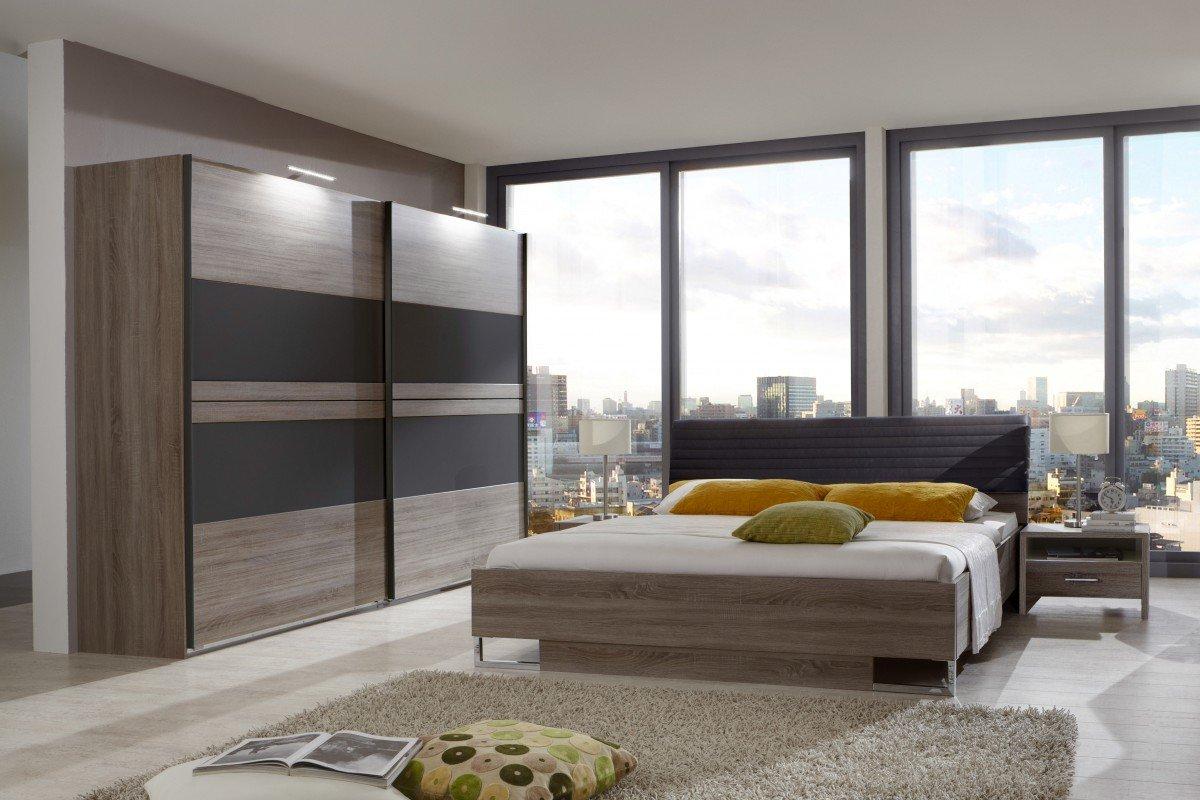 Dreams4Home Schlafzimmerkombination 'Kreta II', Schlafzimmer, Bettgestell, Bettrahmen, Nachtschrank, Schwebetürenschrank, Liegefläche:180×200 cm günstig