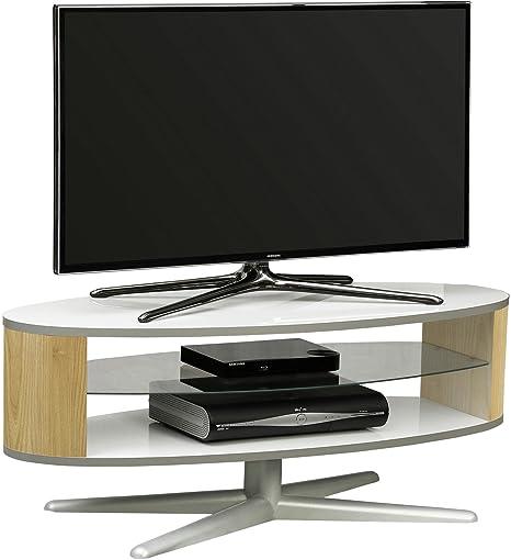 MDA Designs Orbit 1100WO Blanc brillant Meuble TV en chêne avec elliptique côtés pour téléviseurs à écran plat jusqu'à 139,7cm