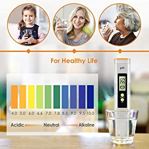 Digital PH Meter, 0.01 PH High Accuracy Pocket Size PH Meter/PH Tester with 0-14.0 Measuring Range, Water Quality Tester for Household Drinking Water, Swimming Pools, Aquarium (Color: Orange-NEW, Tamaño: 15.5cm)