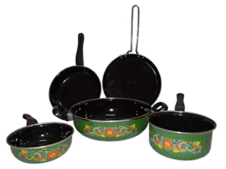 Kotak Sales 5 Pieces Induction Gas Microwave Oven Kitchenware Hard Clay Enamel Coated Cooking Set at amazon