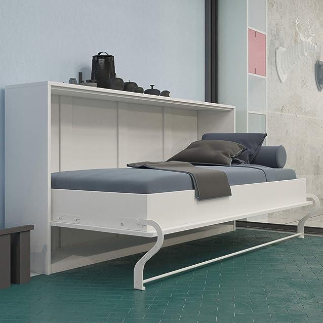 SMARTBett Letto riavvolgibile da 90 x 200 cm orizzontale Armadio, Armadio letto, il Letto Parete Pieghevole blanc