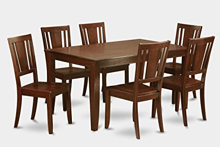 East West Furniture DUDL7-MAH-W 7-Piece Dining Table Set