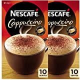Nescafe Cappuccino Sachets 10 Serves ( Pack 2 x 10 Packets ) 132gm x 2 With Chocolate Shaker