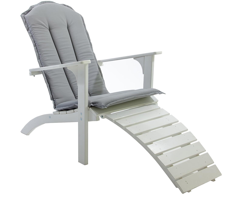 Ambientehome Adirondack Chair Deckchair Liege Gartenliege Massivholz inkl. Fussteil mit Kissen FALUN, Weiß