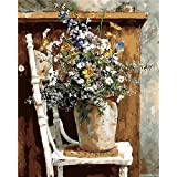 KXCFCYS DIY Oil Painting by Numbers Kit Theme PBN Kit for Adults Girls Kids White Christmas Decor Decorations Gifts - 6448 (with Frame) (Color: With Frame)