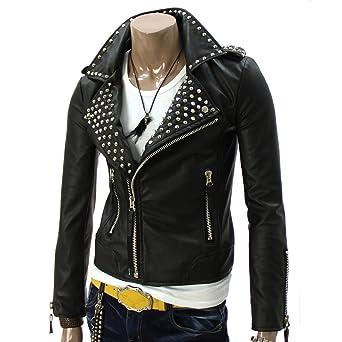 biker BOLO pour homme imitation cuir Noir slim fit Veste-Get Personnalisez vestes