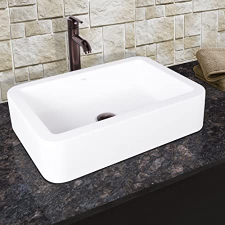 VIGO Navagio Matte Stone Vessel Bathroom Sink and Seville Vessel Faucet with Pop Up, Oil Rubbed Bronze
