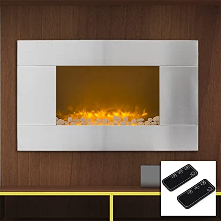 "ARKSEN© 36"" Adjustable Stainless Steel 1500W Electric Fireplace Heater Natural Stone Mount w/ 2 Remotes"