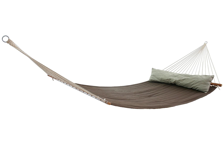 MacaMex CALIFORNIA Doppelstabhängematte Gefüttert Braun Flachs Grün