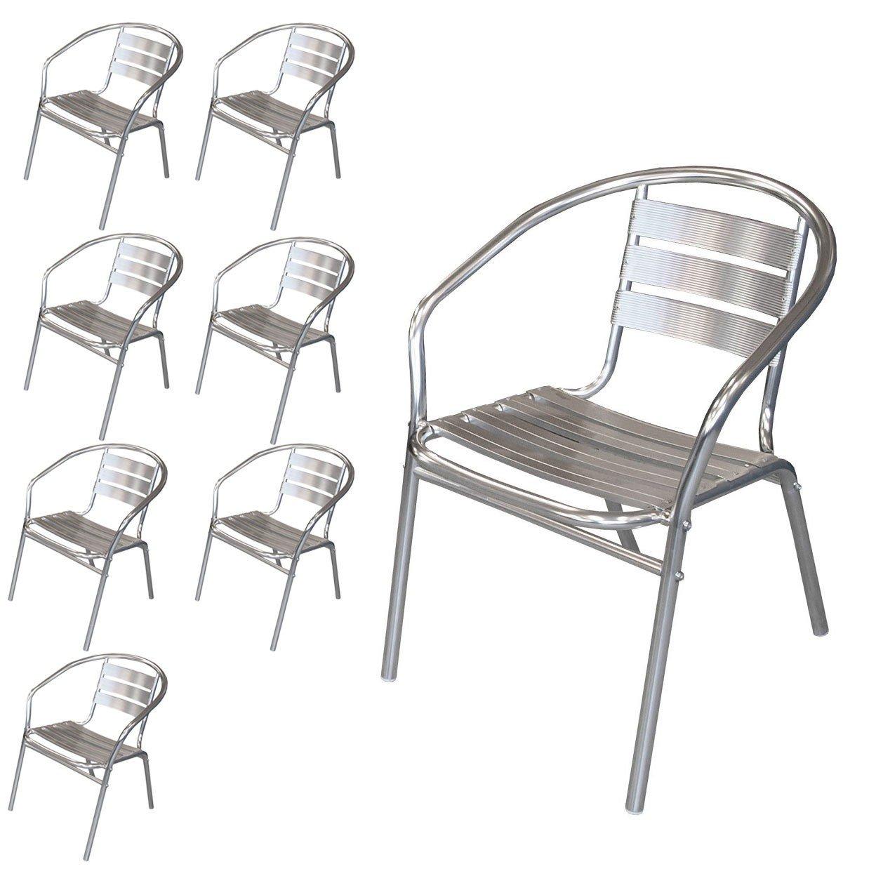 8 Stück Bistrostuhl Stapelstuhl Gartenstuhl Balkonstuhl Terrassenstuhl Balkonmöbel Terrassenmöbel Aluminium / Silber