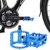 Mountain Bike Pedals - Aluminum Alloy Cycling Sealed Bearing Flat Platform Pedals with 16 Anti-skid Pins - Lightweight Bike Accessories for Mountain Bike, Road Bike, and Off Road Bike Blue (Color: Blue)