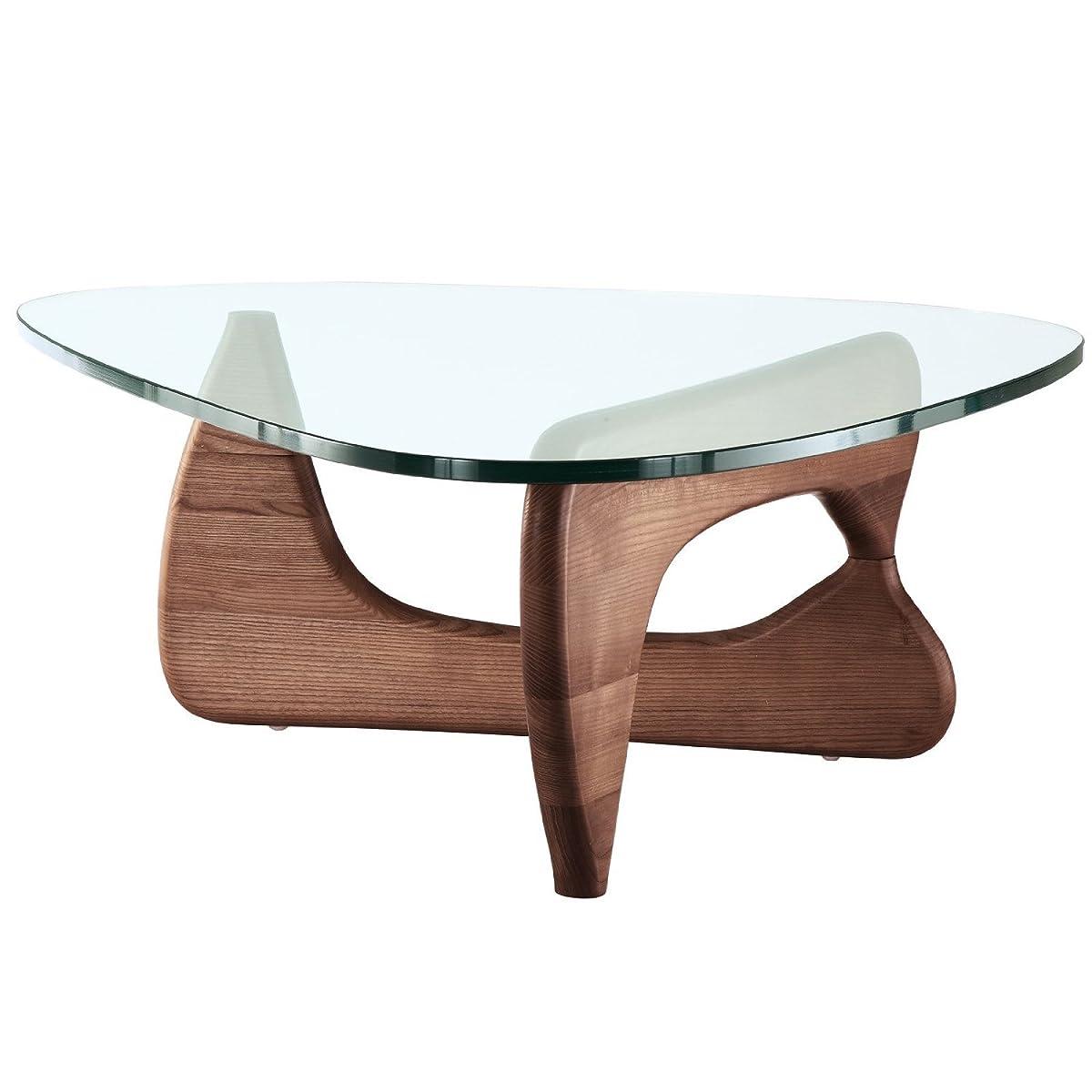 EMODERN FURNITURE eMod - Noguchi Triangle Coffee Table Glass Top Walnut