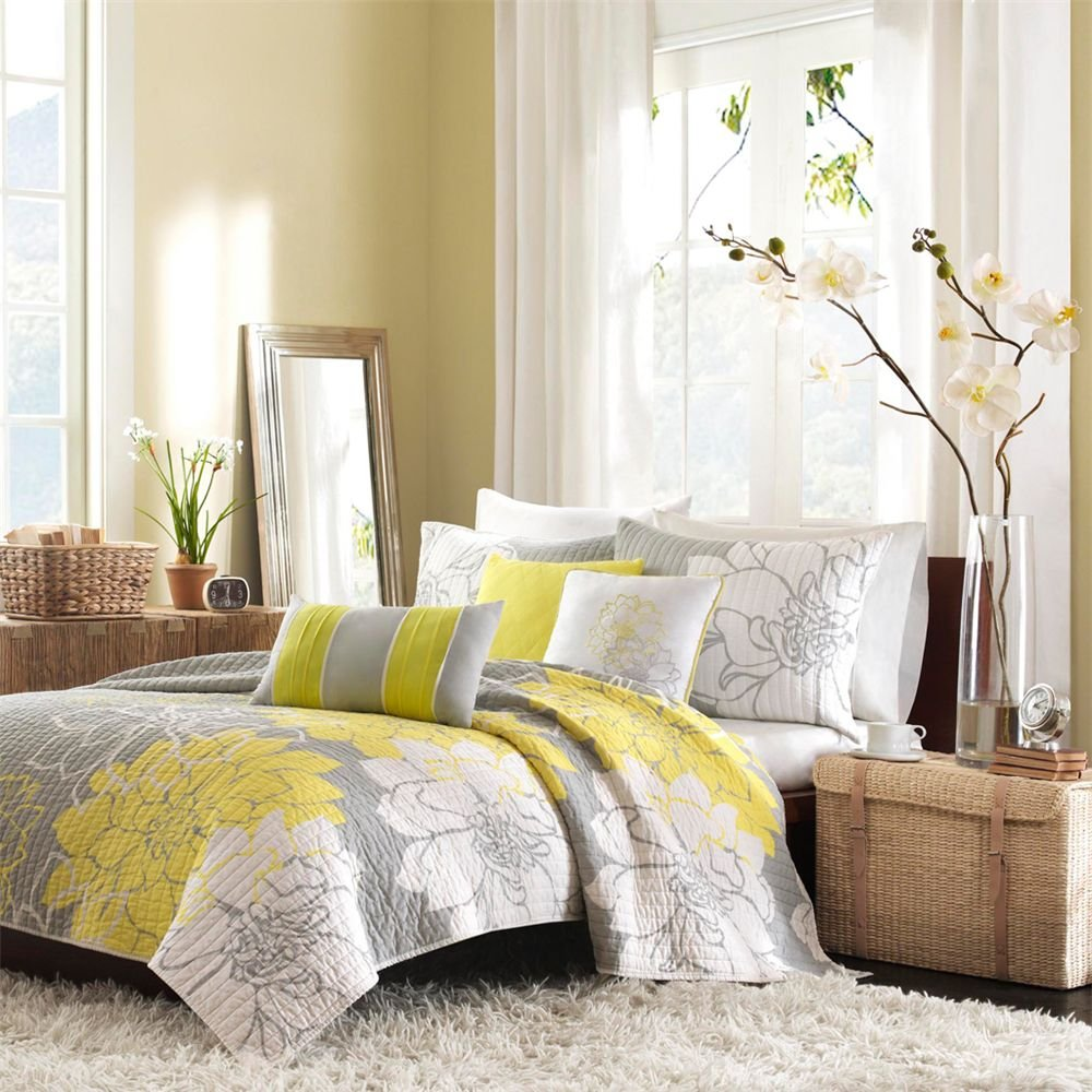 Amber gold and yellow bedroom design ideas seekyt - Grey and gold bedroom ...