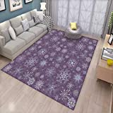 Eggplant Floor Mat for Kids Christmas Inspired Cute Flowers Snowflakes and Swirls in a Violet Delicate Environment Bath Mat Non Slip Violet (Color: Color19, Tamaño: 5'x6' (W150cm x L180cm))