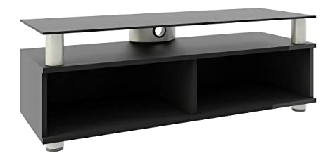 VCM Clunis - Mueble de TV de clase superior, 95 cm, plancha superior de cristal de color negro, barniz de color negro