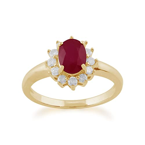 Gemondo Ruby Ring, 9ct Yellow Gold 1.06ct Ruby & Diamond Oval Cluster Ring