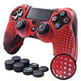 Pandaren STUDDED Anti-slip Silicone Cover Skin Set for PS4 /SLIM /PRO controller(CamouRed controller skin x 1 + FPS PRO Thumb Grips x 8) (Color: Red, Tamaño: PS4)