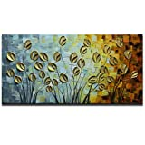 Asdam Art - Gold Daisy Oil Paintings on Canvas Budding Flowers Art 100% Hand-Painted Abstract Artwork Floral Wall Art for livingroom Bedroom Dinning Room Decorative Pictures Home Decor (24X48in) (Color: Asd037-2, Tamaño: 24x48inch (60x120cm))