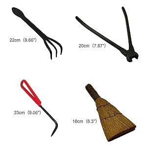 Voilamart 10 Piece Bonsai Tool Kit with Case, Carbon Steel Scissor Cutter Shear Set Garden Plant Tools (Tamaño: 10PCS Kit)