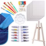 Kids Art Set | 27-Piece Acrylic Paint Set with 5 Paint Brushes 8x10 Painting Canvas Tabletop Easel & Bonus Art Smock Paint Palette Color Mixing Chart