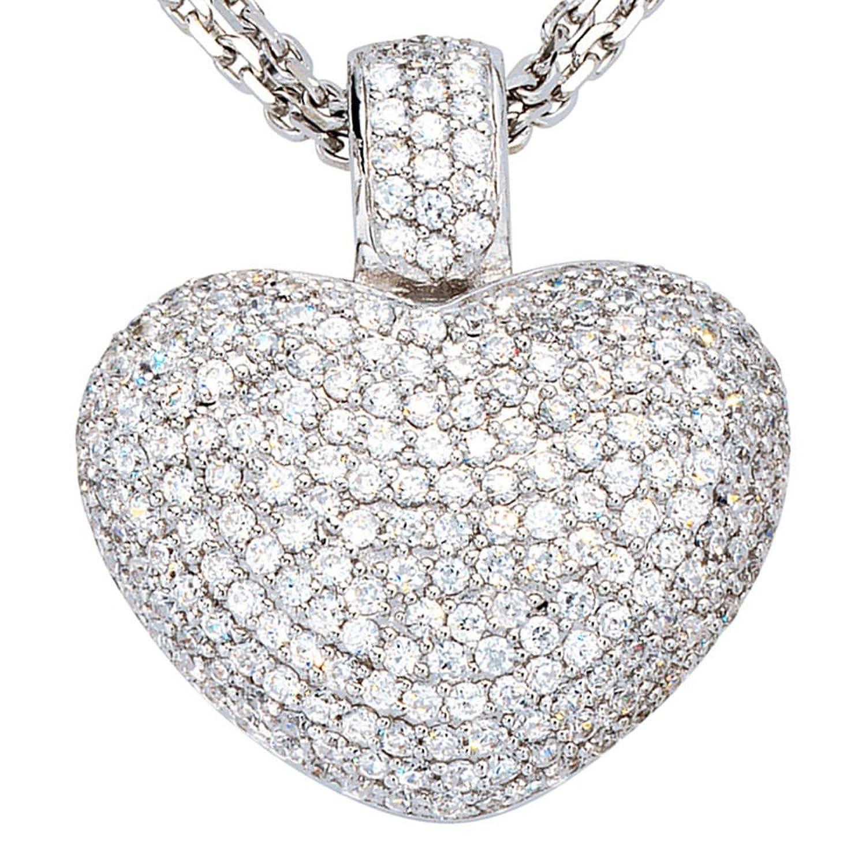 Schmuck Damen Anhänger Herz Silber 925 rhodiniert mit Zirkonia Höhe ca. 33.7 mm Breite ca. 29.2 mm Tiefe ca. 15.7 mm jetzt bestellen