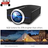Video Projector, MEER 1600 Lumens 130'' Wide Screen LED Portable Projector with Built-in Speaker, for Home Entertainment Outside Movies Games Support iPad/iPhone (Color: YG500)