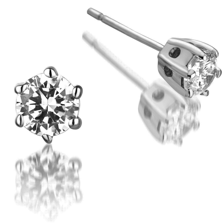 Elegante 9 Karat (375) Weißgold Solitär Damen – Diamant Paar Ohrstecker Brillant-Schliff 0.50 Karat GH-SI3-I1 – 4mm*4mm günstig kaufen