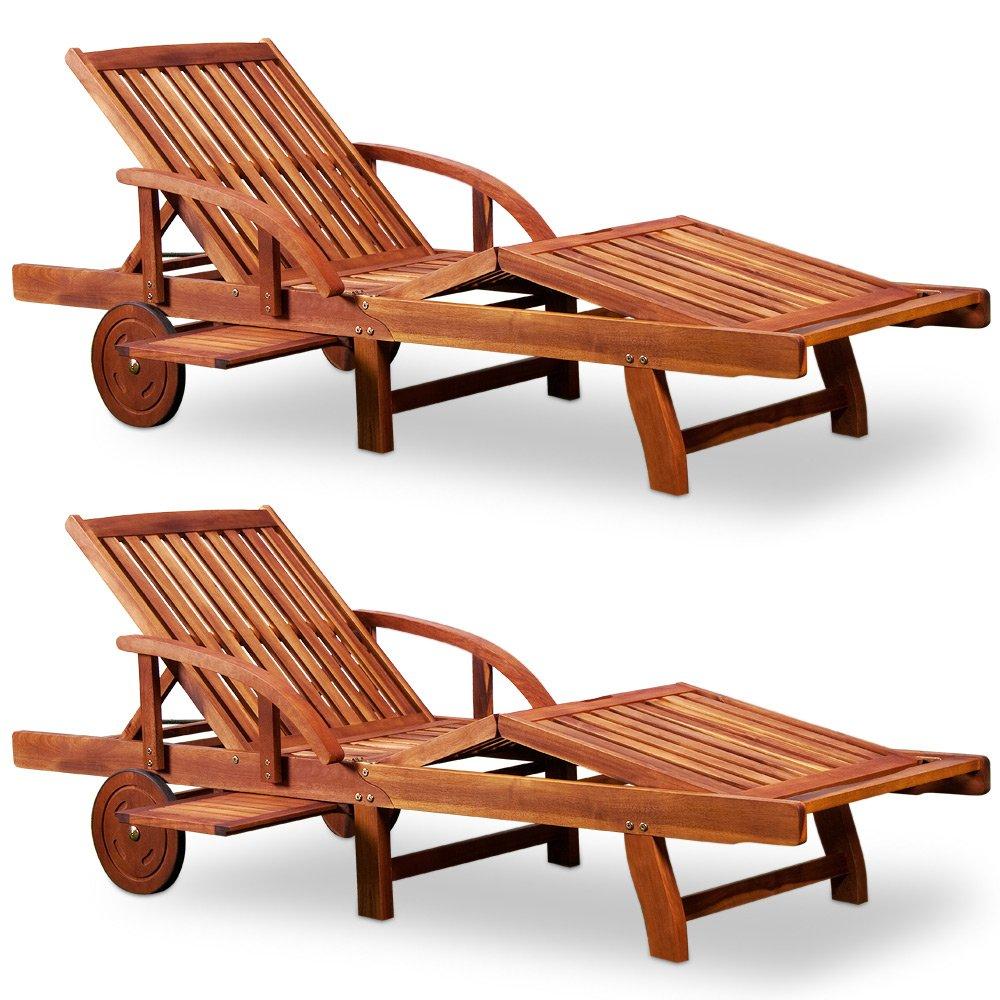 """2x Sonnenliege """"Tami Sun"""" 200cm Akazienholz – Gartenliege Holzliege Liege günstig"""