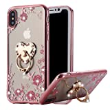 iPhone X Case Pink Ring, Miniko(TM) Soft Slim Bling Rhinestone Floral Crystal TPU Plating Rubber Case Cover with Detachable 360 Diamond Finger Ring Holder Stand for iPhone X