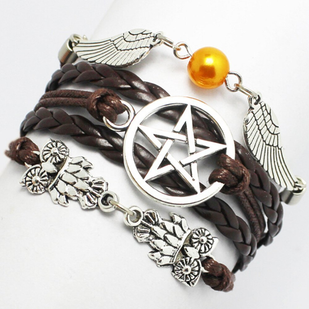 Bracelet, Angel Wings, Wing, Owls, Pagan and Wiccan, Dean Winchester, Supernatural, Star Bracelet, Brown, Friendship, Bridesmaid Gift