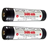 3400mAh 18650 Battery ORBTRONIC Protected Button Top Rechargeable High Performance Li-ion 3.7V for High Power Flashlights (Pack of: 2X Batteries) (Color: Black, Tamaño: Pack of: 2x batteries)
