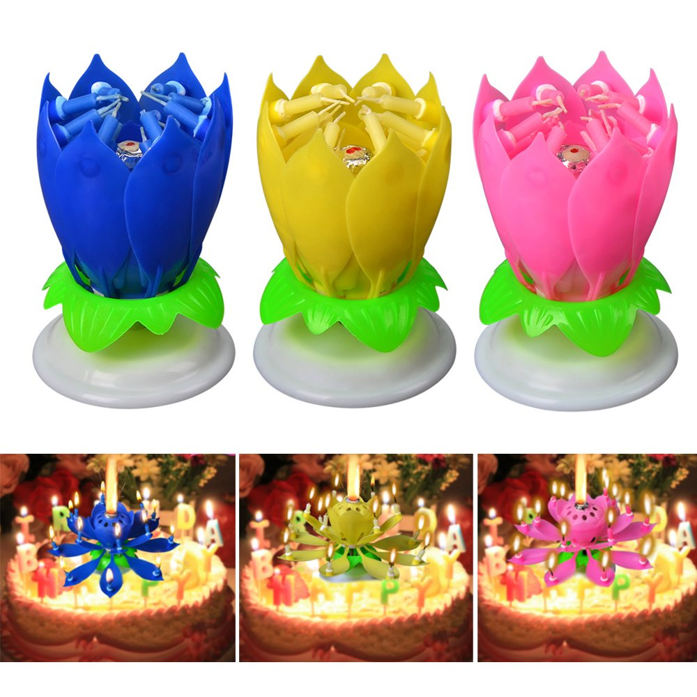 3x Musical Lotus Flower Candles Romantic Party Surprised Gift Light for Birthday (3PCS (Blue+Yellow+Pink))