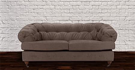 New Mayfair Chesterfield 2 Seater Linen Sofa - Fudge