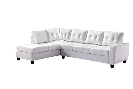 Glory Furniture G207B-SC Sectional Sofa, White, 2 boxes