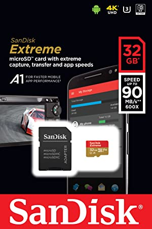 SanDisk Extreme 32GB microSDHC UHS-I Card - SDSQXAF-032G-GN6MA [Newest Version]