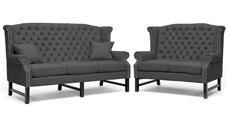 Baxton Studio Sussex Linen Sofa Set - Dark Gray