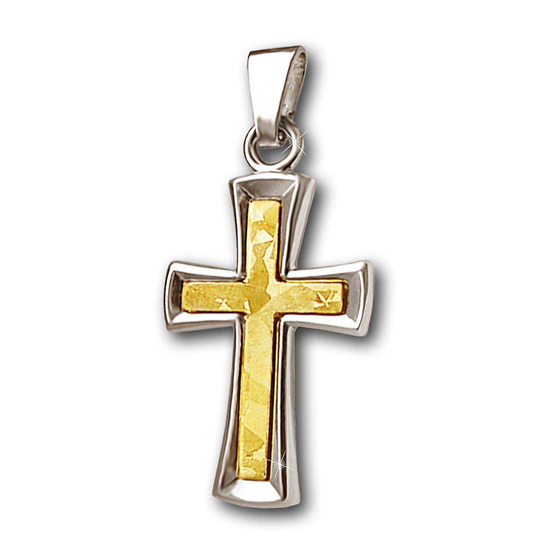 CLEVER SCHMUCK Goldener Anhänger exklusives Kreuz 20 mm außen in Weißgold glänzend und innen mit mattierten Mosaikmuster in Gelbgold ECHT GOLD 585 als Weihnachtsgeschenk kaufen