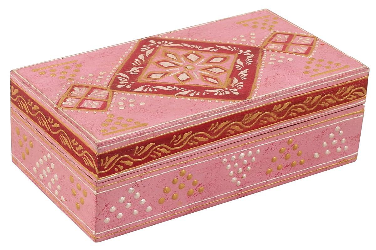 Wood Pink Jewelry Box - Decorative Wooden Jewelry Box - Stylish Storage Keepsake Box with Traditional Indian Cone Painting Art